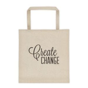 bag with the words create change