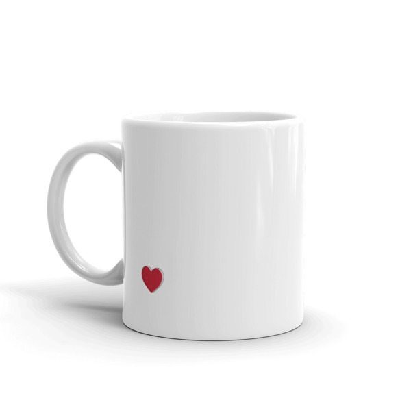 white coffee mug with heart