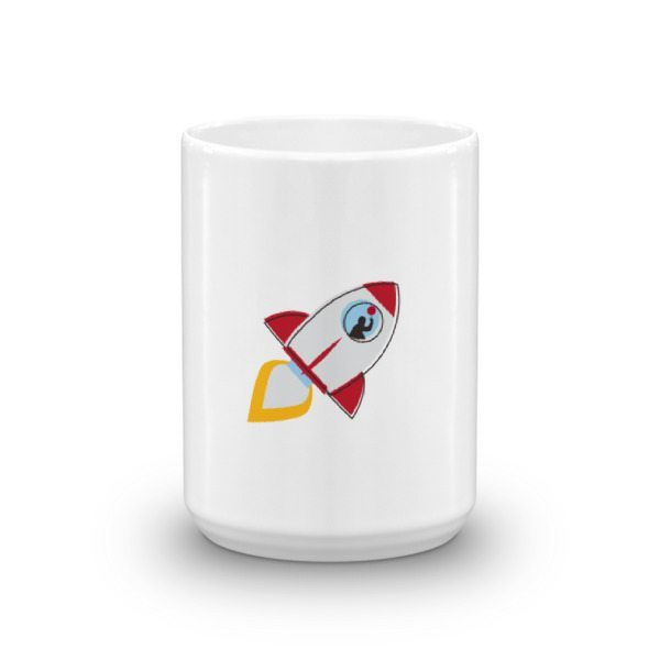 whit mug with rocket