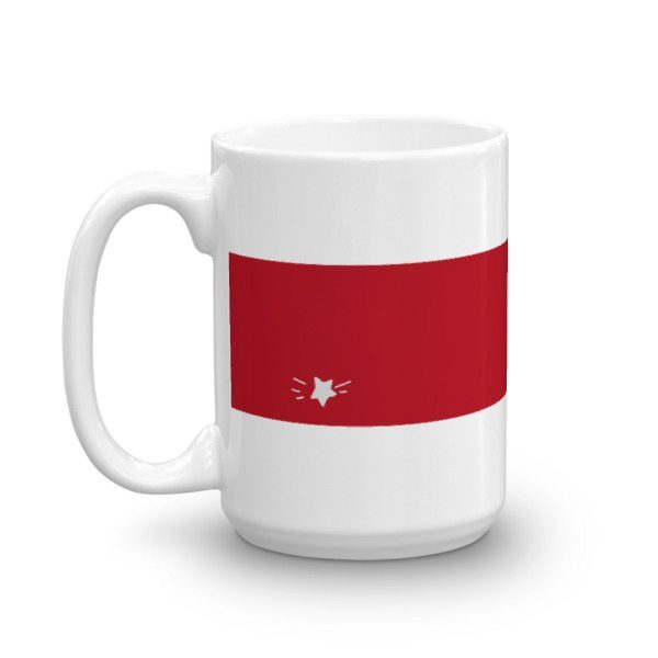 white coffee mug with red stripe and small star