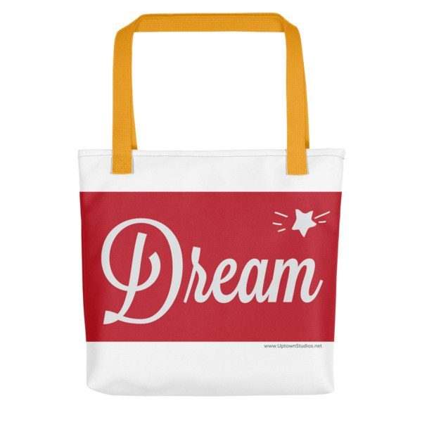 red and white dream bag with orange straps