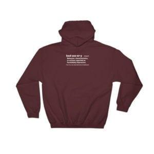 burgundy badassery hoodie back