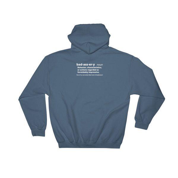 blue grey badassery hoodie back