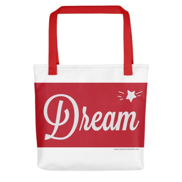red and white dream bag