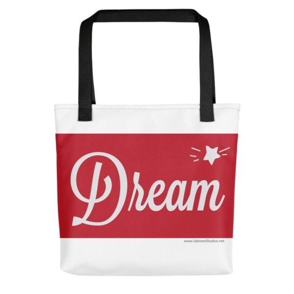 red and white dream bag with black straps