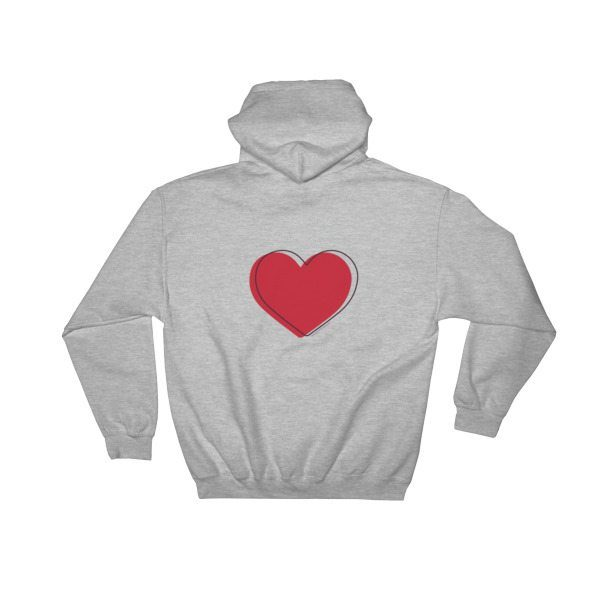 hoodie sweater with red heart back