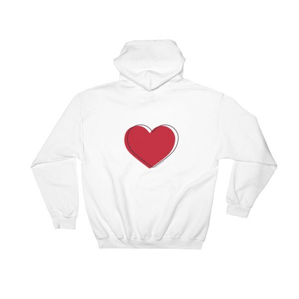 white hoodie sweater with red heart