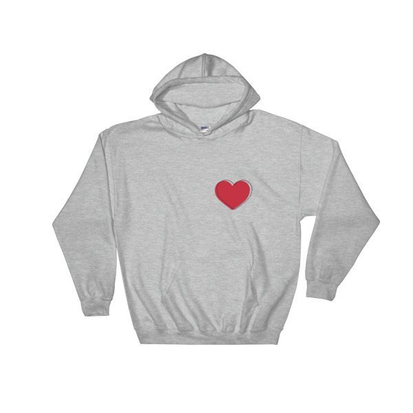 hoodie sweater with red heart front