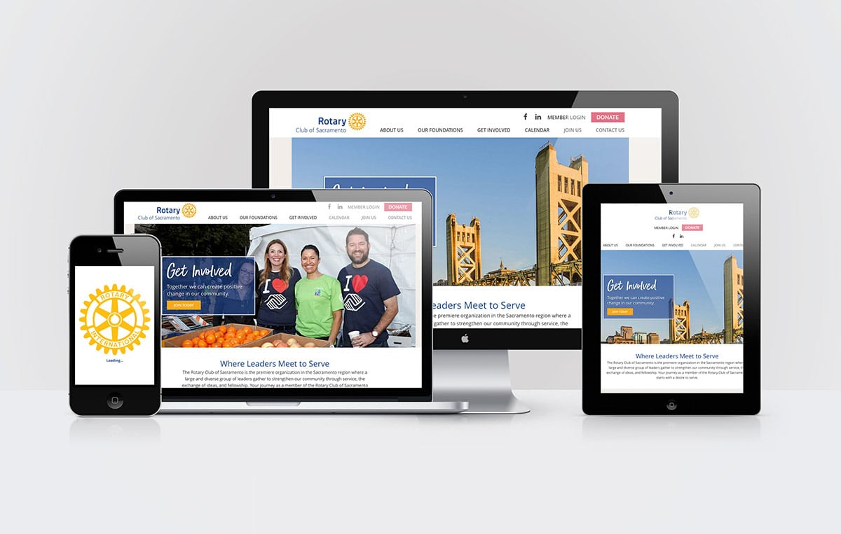 Sacramento Rotary Club website on desktop and mobile