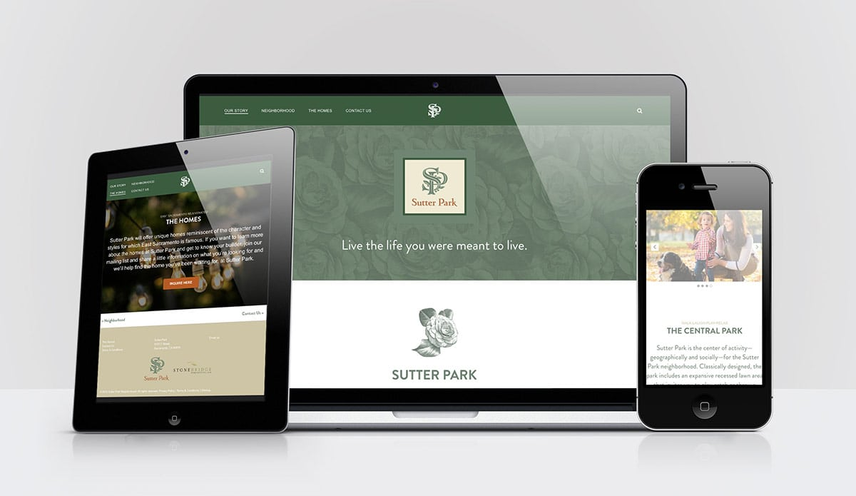 Sutter Park website on desktop and mobile