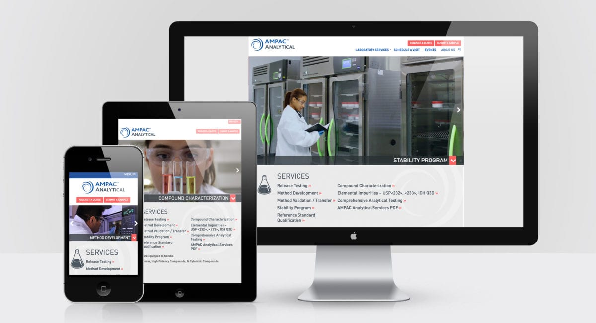 AMPAC Analytical website on desktop phone and tablet