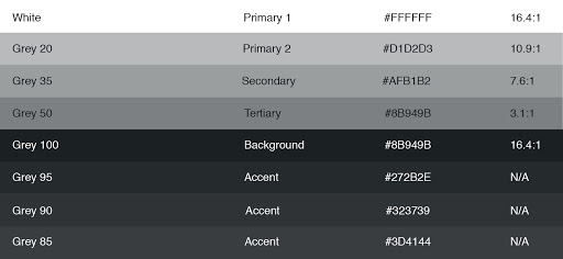 Table Of White And Grey Accessible Digital Color Palette Ranging From Dark To Light
