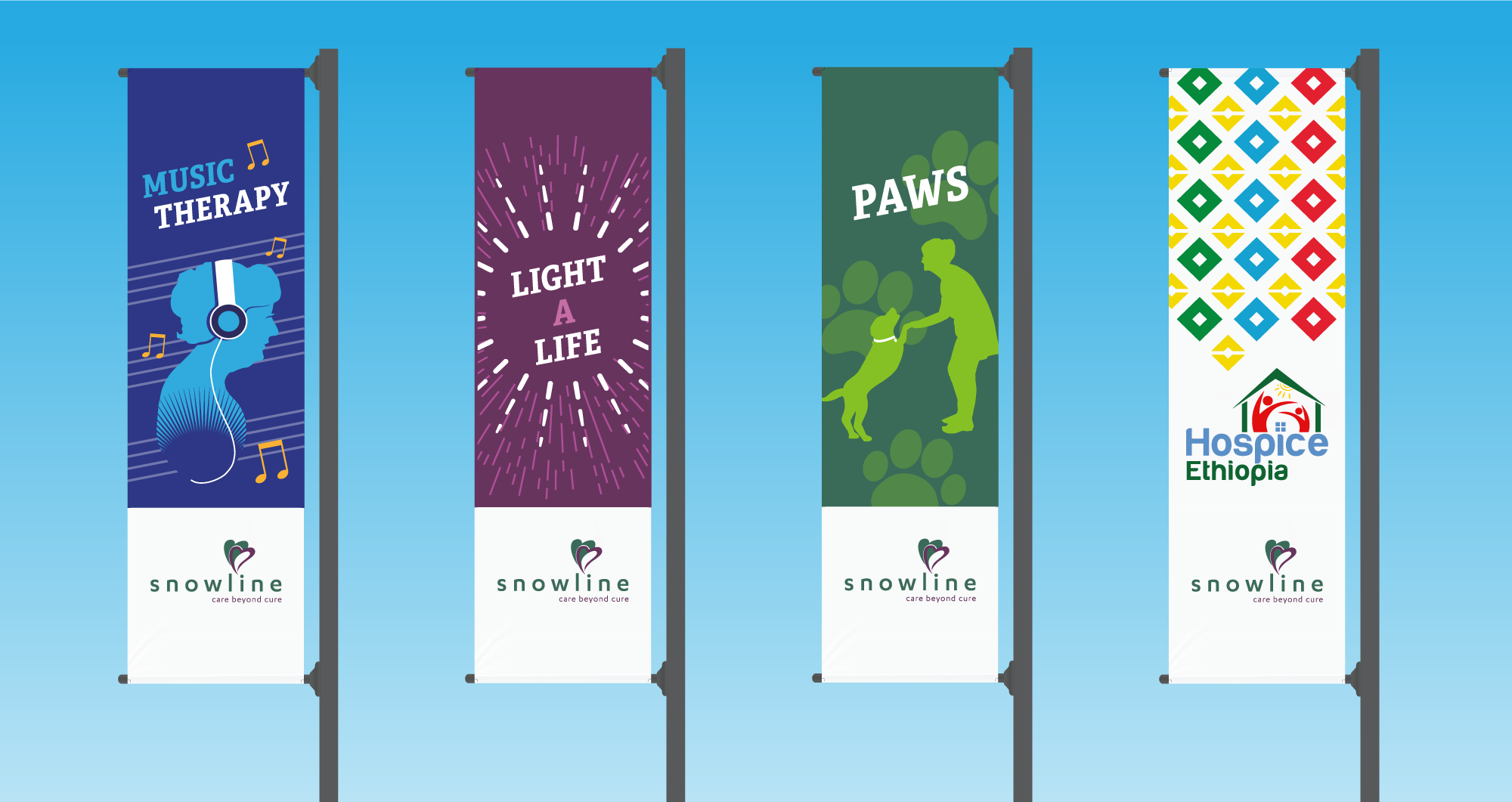 Four Colorful Nonprofit Graphic Design Banners For Snowline