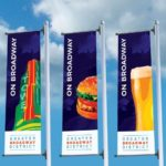 Five Nonprofit Graphic Design Banners Showing What To Do On Greater Broadway District On Blue And Cloudy Background