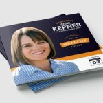 Dark Blue And Orange Closed Brochure Of Democrat Anne Kepner Running For State Assembly 2020