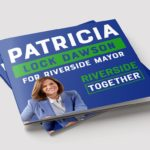 Dark Blue And Green Closed Political Brochure Of Patricia Lock Dawson Running For Riverside Mayor