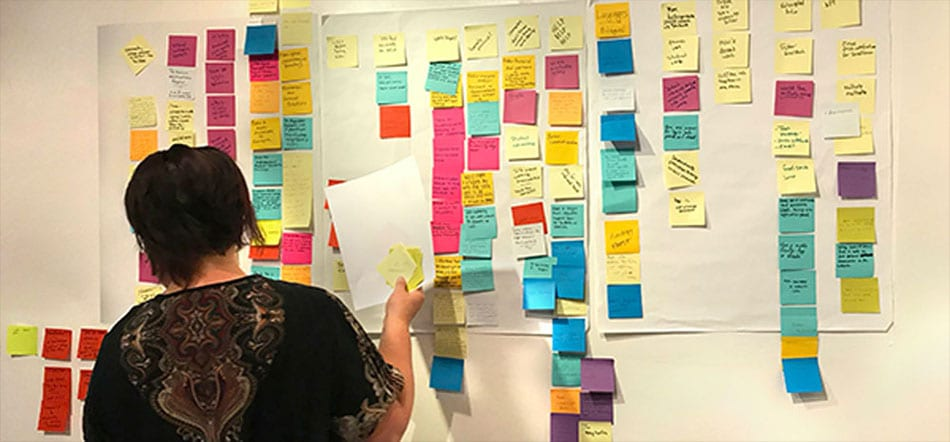 Person Adding Post-It Notes To Wall Wit Human-Centered Design Marketing Strategy