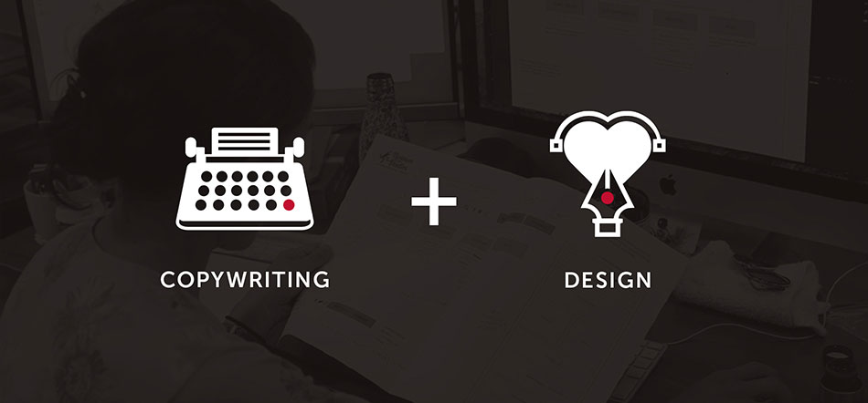 Copywriting And Design Icons Over Top Of Black Background With Designer Writing Sitemap