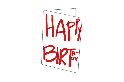 Happy Birthday Card With Red Text Squished Onto White Card