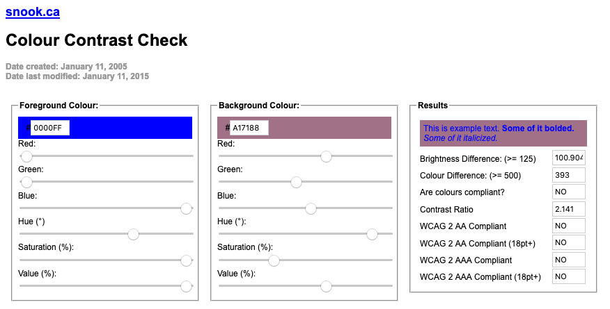 A screenshot of the a color contrast checker tool showing the contrast ratio between blue and mauve