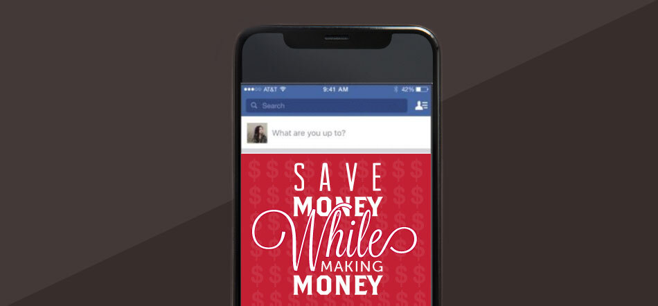 Save Money While Making Money Title Listed On Image Of Mobile Smart Phone With Black And Gray Background