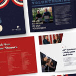 Snowline Print Annual Report Showing Four Different Examples Of The Report In Red White And Blue With A Large White Star