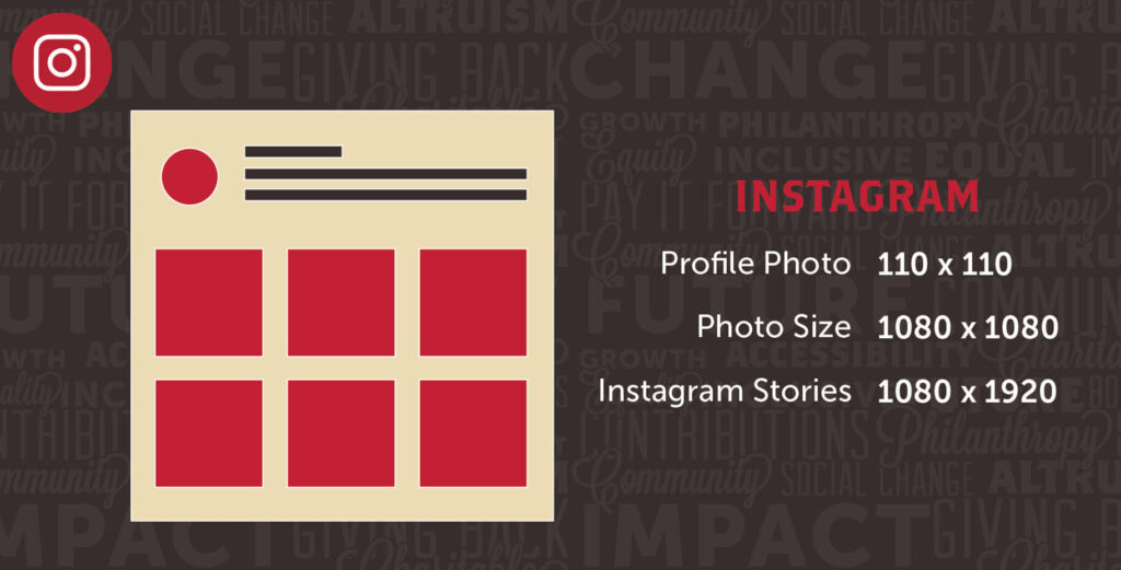Social Media Instagram Different Image Sizes With Red Mockup And Black Uptown Studios Branded Background