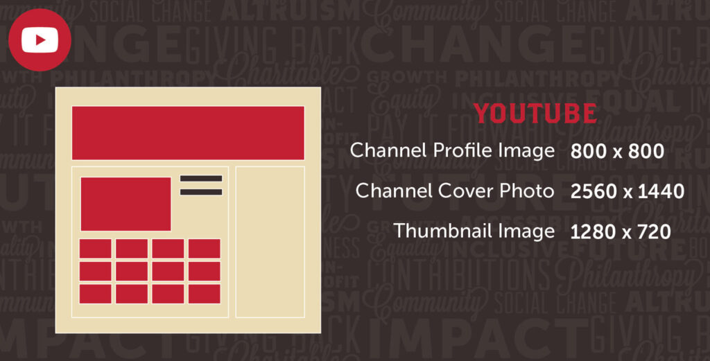 Social Media YouTube Different Image Sizes With Red Mockup And Black Uptown Studios Branded Background