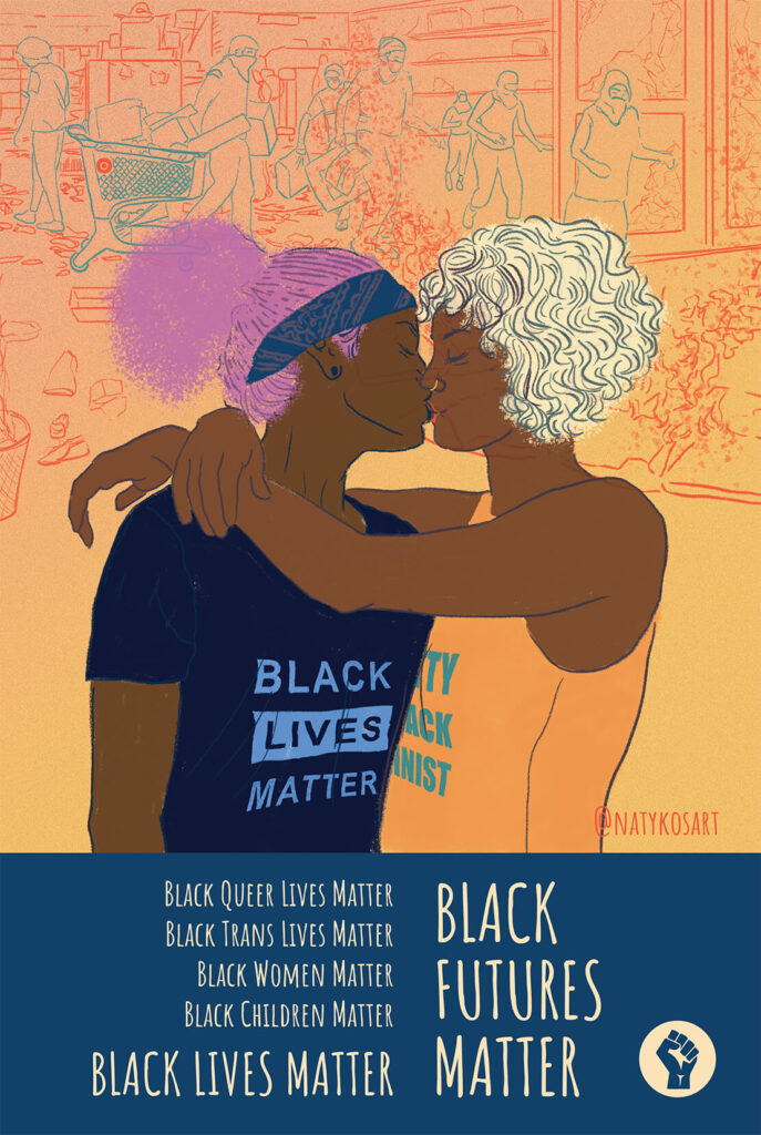 Two Black Women Kissing With Black Futures Matter Below It On An Orange Background