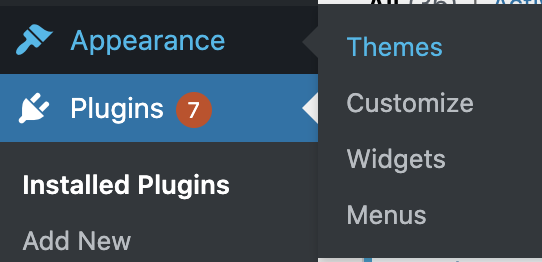 WordPress Dashboard Showing Themes Highlighted In Blue