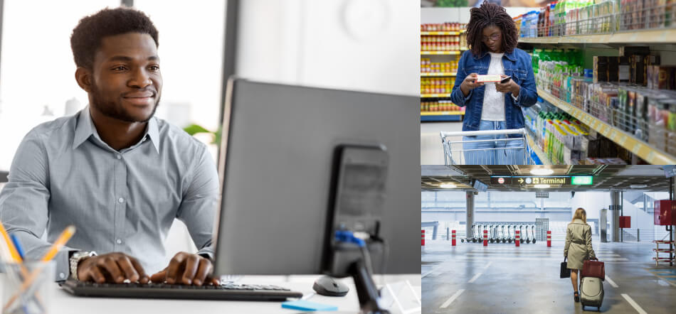 Showing Three Different Forms Of User Experience With Someone On Computer, In Grocery Store, And In Parking Structure