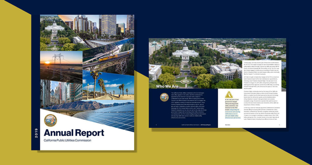 CPUC Annual Report Portfolio Piece With Gold And Blue Background