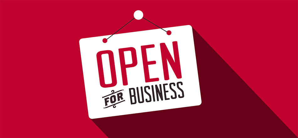 Open For Business Sign On Red Background