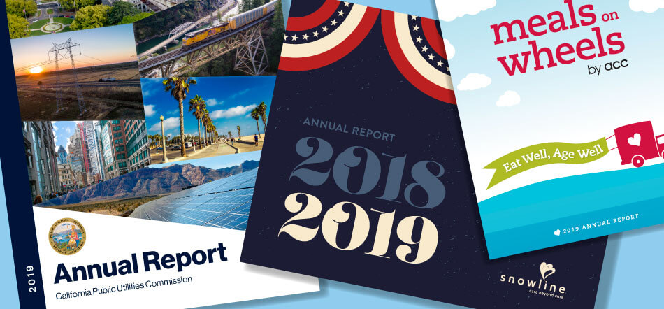 Great Graphic Design Annual Reports For 2018 And 2019 With Three Annual Reports Scattered On Top Of Gray Background