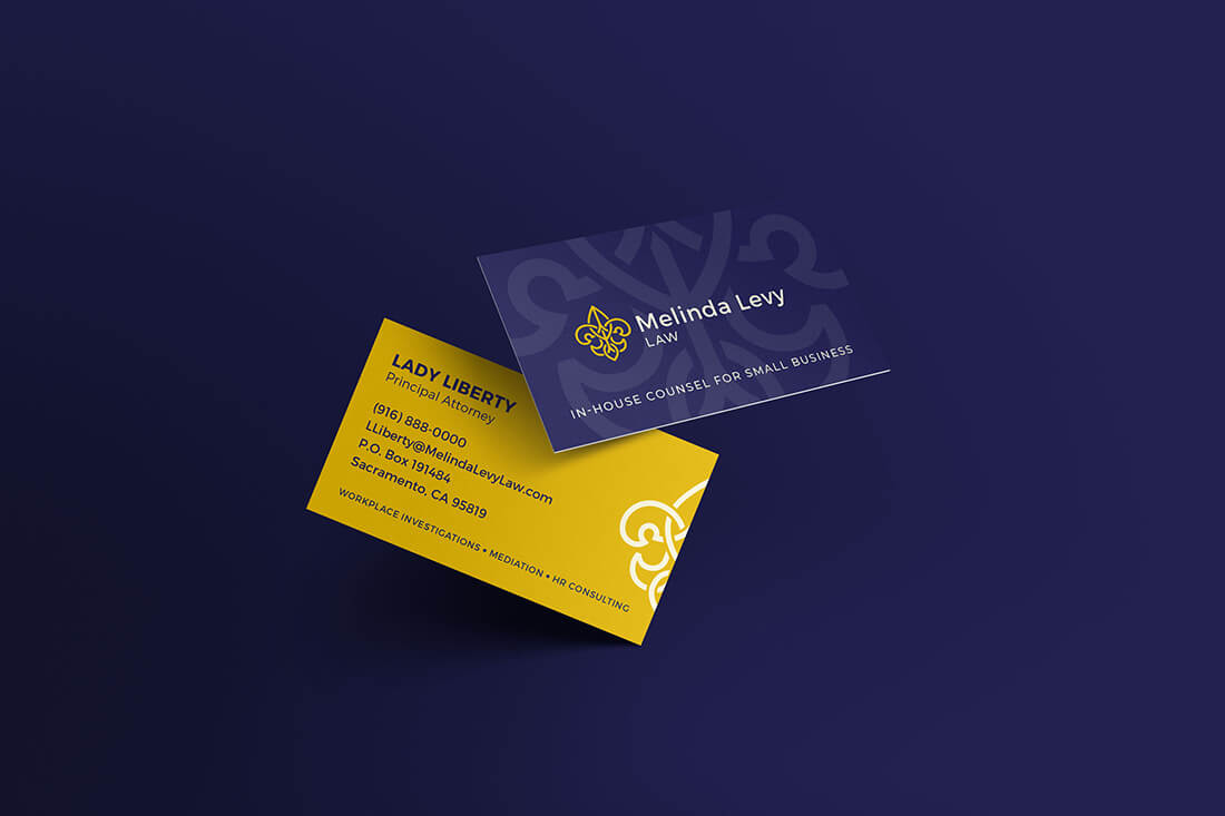 Melinda Levy Logo Blue And Gold Business Cards With Dark Blue Bakcground