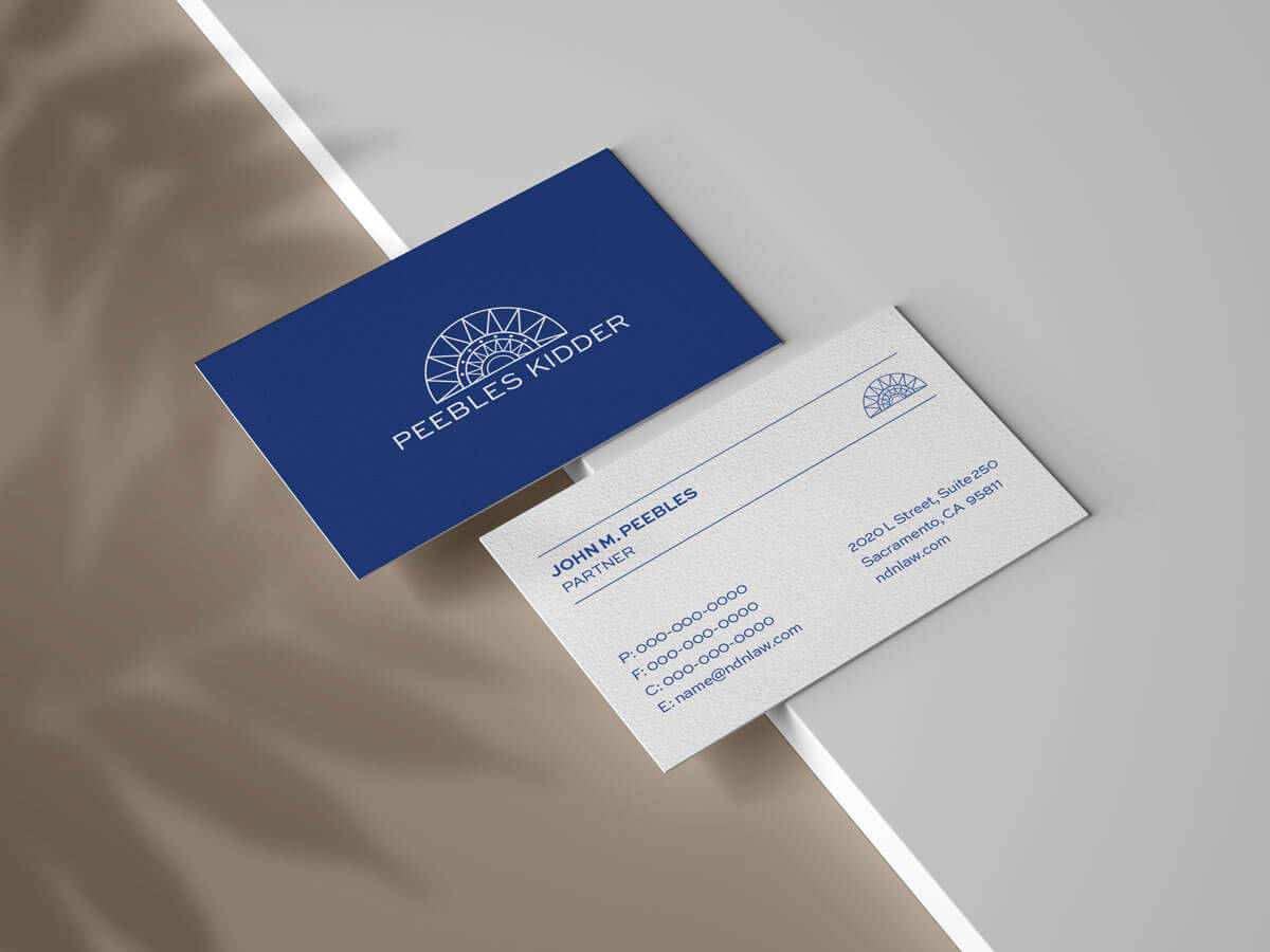 Peebles Kidder Blue And White Business Card Portfolio Piece With Grey Background