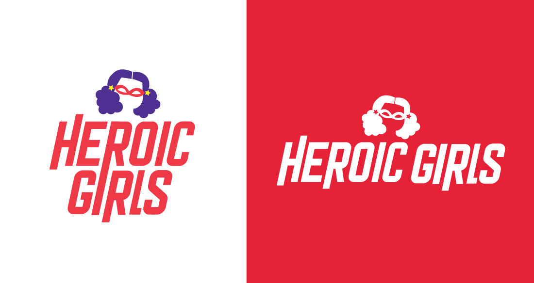 Heroic Girls Logo With Red And White Background