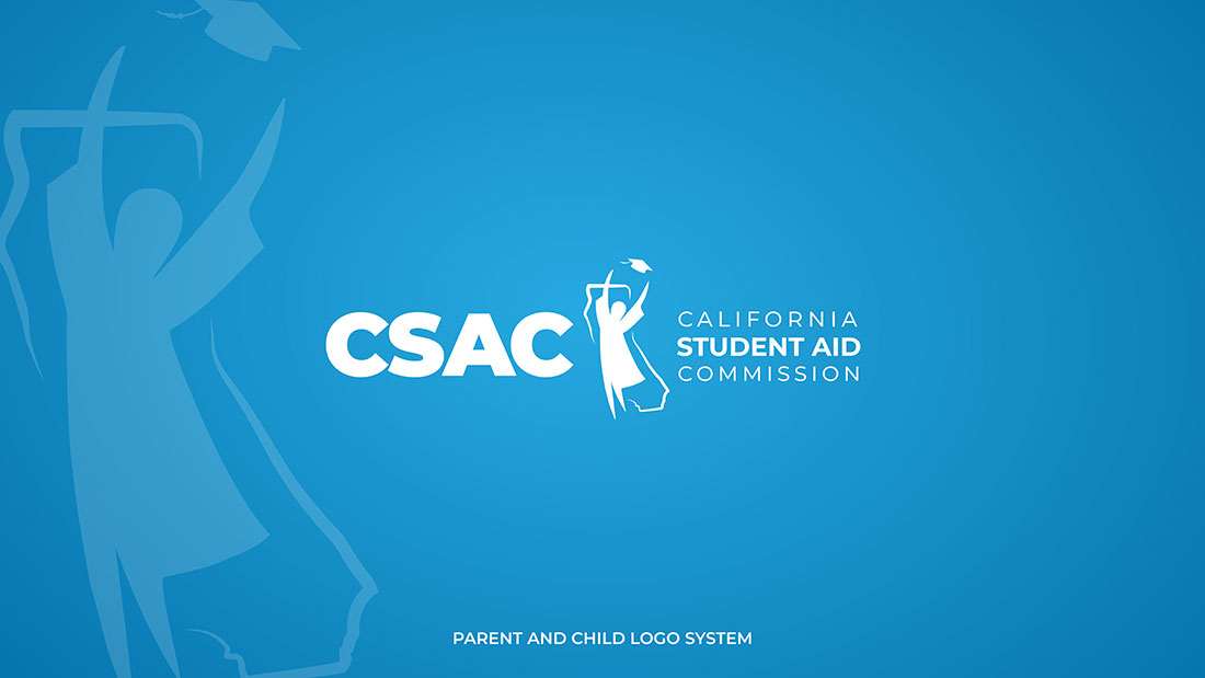 CSAC California Aid Commission Logo With CSAC Logo And Student With Hands In Air Throwing Graduation Cap In Air