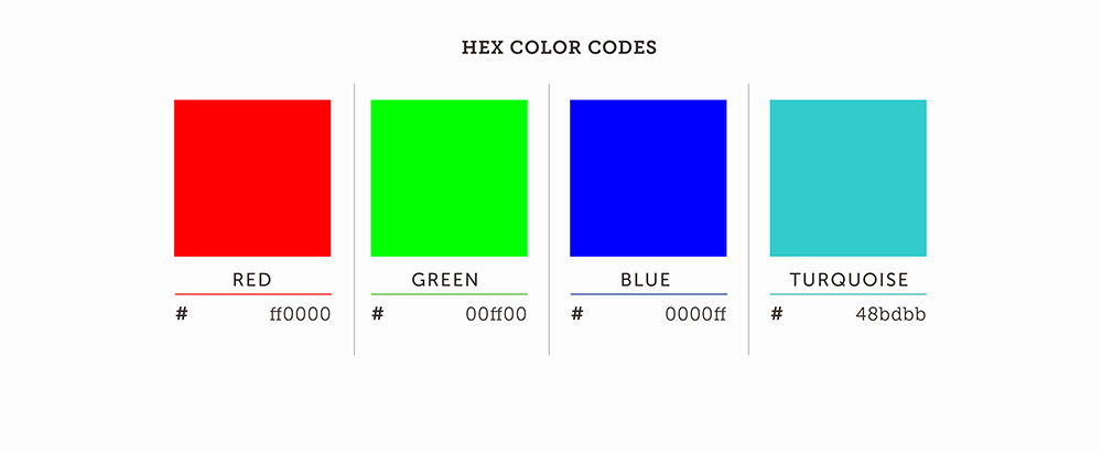 HEX Color Codes Red Green Blue Turquoise Palette
