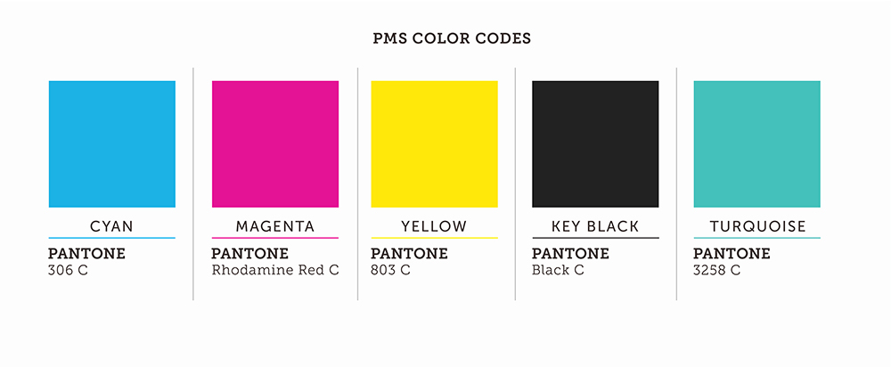 PMS Color Codes Palette Cyan Magenta Yellow Key Black Turquoise