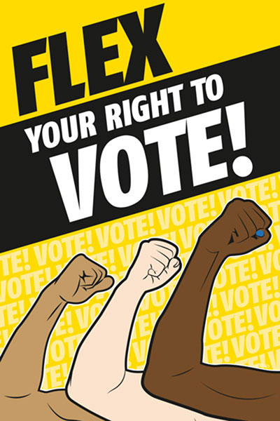 Flex Your Right To Vote With Three Arms Being Flexed And Yellow Background