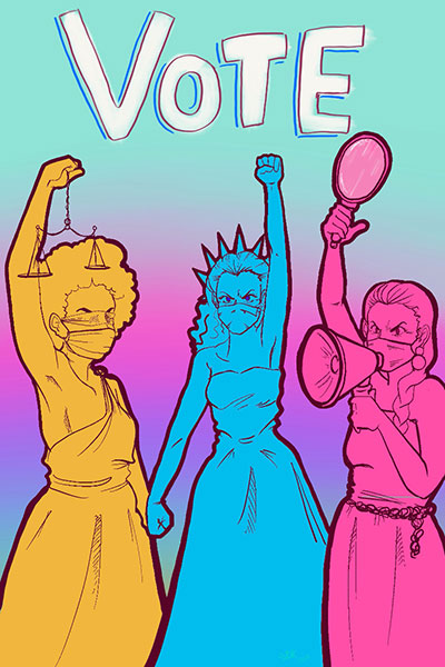 Horsewomen Of Judgement Three Women Holding Hands Above Their Head In Yellow Blue And Pink With Vote Over Their Head
