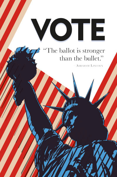 Vote The Ballot Is Stronger Than The Bullet Vote Poster With The Statue Of Liberty In The Foreground And Red And White Stripes In The Background