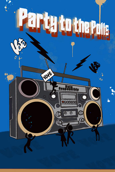 Party To The Polls Vote Poster With A Giant Boombox And Small Animated People Dancing Around It Holding A Vote Sign
