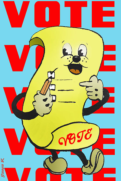 Smiling Yellow Vote Ballot Holding Pencil With Vote Vote Vote In Background