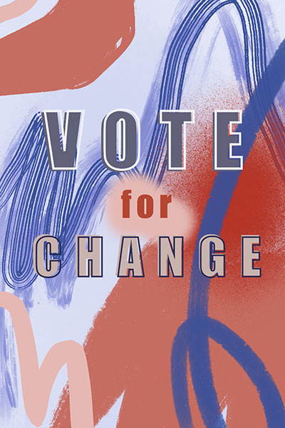 Vote For Change Print Over Red And Blue Background