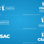 Six White CSAC Logo Variants With Three Vertically Aligned On The Left And Three Aligned On The Right