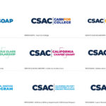 Nine CSAC Logos Aligned Vertically With Different Color Variants