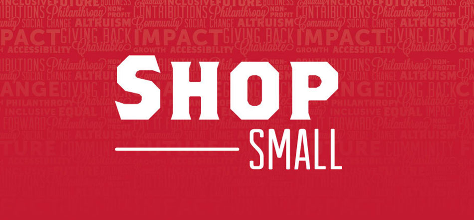 Shop Small For Small Business Saturday On Red Background