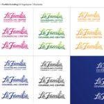 La Familia Cursive Logos In Different Colors With Blue Square La Familia Logo On Bottom Right